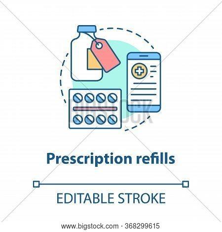 Prescription Refills Concept Icon. Pharmacy Idea Thin Line Illustration. Medically Prescribed Drugs