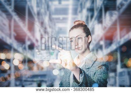 Futuristic Innovation Technology Intelligence Online Payment, Business Woman Using Virtual Interface