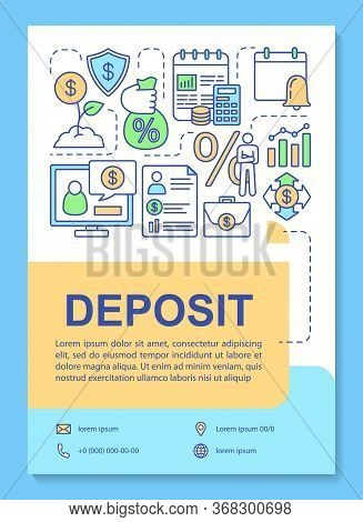 Deposit Poster Template Layout. Keeping Funds In Passive Income Deposit. Banner, Booklet, Leaflet Pr