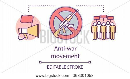 Anti War Movement Concept Icon. Militarism Opposition, Pacifism Idea Thin Line Illustration. Megapho