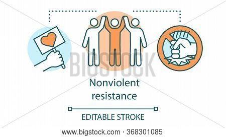 Nonviolent Resistance Concept Icon. Peaceful Social Protest, Pacifism Idea Thin Line Illustration. P