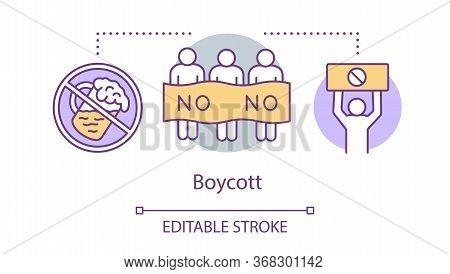 Boycott Concept Icon. Public Product Abstention, Consumer Activism Idea Thin Line Illustration. Prot