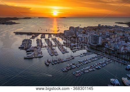 Aerial View Of San Antoni De Portmany Harbor At Sunset. Ibiza, Balearic Islands, Spain.