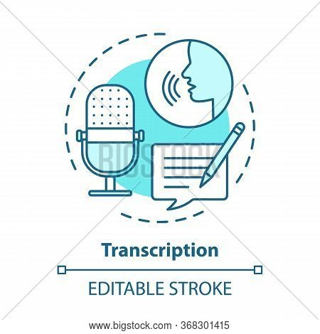Transcription Blue Concept Icon. Audio Files Conversion Into Text Format Idea Thin Line Illustration