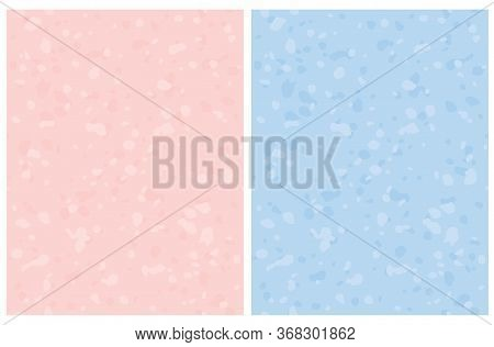Cute Abstract Brush Spots Vector Pattern. Irregular Spatter On A Pastel Pink And Light Blue Backgrou