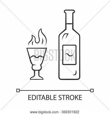 Absinthe Linear Icon. Bottle And Tall Footed Glass With Flaming Shot. Distilled Highly Alcoholic Bev