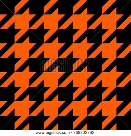 Halloween Goose Foot. Pattern Of Crows Feet In Black And Orange Cage. Glen Plaid. Houndstooth Tartan