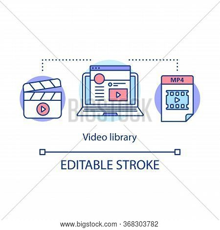 Video Library Concept Icon. Internet Vlog Content Hosting Idea Thin Line Illustration. Footage, Clip