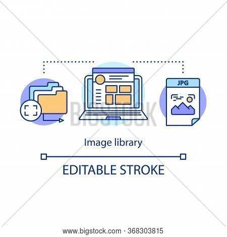 Image Library Concept Icon. Internet Images Hosting Idea Thin Line Illustration. Pictures, Photos, M