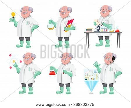 Professor Cartoon Character, Set Of Six Poses. Usable Also As Scientist, Chemist, Laboratory Assista