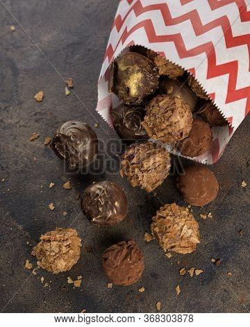 Chocolate Truffle Bonbon With Waffle Crumbs And Cocoa