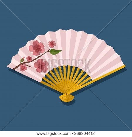 Hand Fan With Sakura Branch With Flowers Isolated On Blue Background, Japanese And Chinese Folding F
