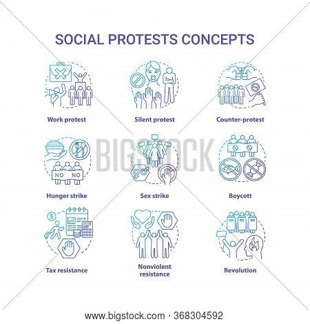 Social Protests Concept Icons Set. Public Demonstrations, Civil Disobedience Idea Thin Line Illustra