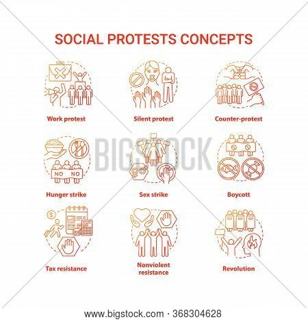 Social Protests Concept Icons Set. Public Opposition, Civil Disobedience Idea Thin Line Illustration