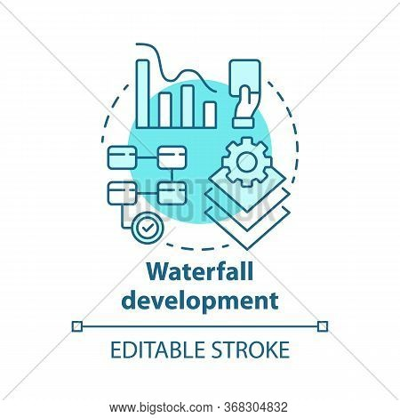 Waterfall Development Concept Icon. Sequential Phases Of Project. Strategy Management. Workflow Admi