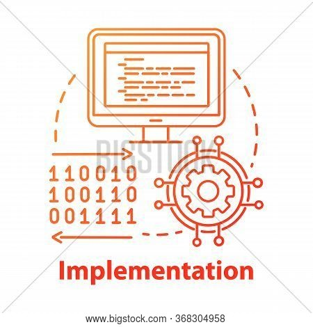 Implementation Concept Icon. Software Coding. Computer Programming And Deployment Idea Thin Line Ill