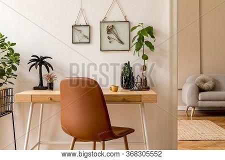 Interior Design Of Scandinavian Open Space With Mock Up Photo Frames, Wooden Desk, Gray Sofa, Cacti,