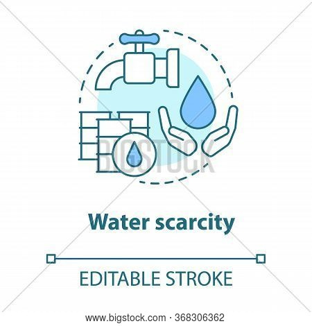 Water Scarcity Concept Icon. Lack Of Clean Drinking Pure Water Idea Thin Line Illustration. Resource
