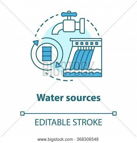 Water Sources Concept Icon. Drinking Water Supplies Idea Thin Line Illustration. Reasonable Usage An