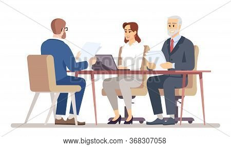 Hr Manager Interviewing Job Applicant Flat Vector Illustration. Business Negotiations In Office. Mee