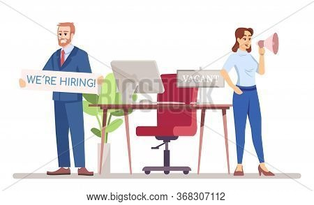 Hr Managers Looking For Worker Flat Vector Illustration. Staff Recruitment In Team. Vacant Job Posit