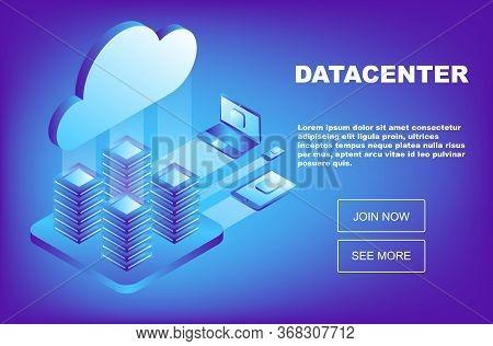 Data Center Cloud Computer Connection Hosting Server Database. Mainframe, Powered Server, High Techn