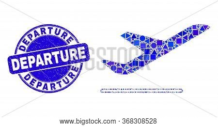 Geometric Airplane Departure Mosaic Pictogram And Departure Seal Stamp. Blue Vector Round Distress S