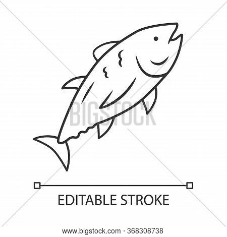 Tuna Linear Icon. Swimming Marine Fish. Underwater Inhabitant. Mackerel Fishing. Seafood Restaurant.