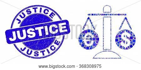 Geometric Compare Euro Dollar Mosaic Pictogram And Justice Seal Stamp. Blue Vector Rounded Distress