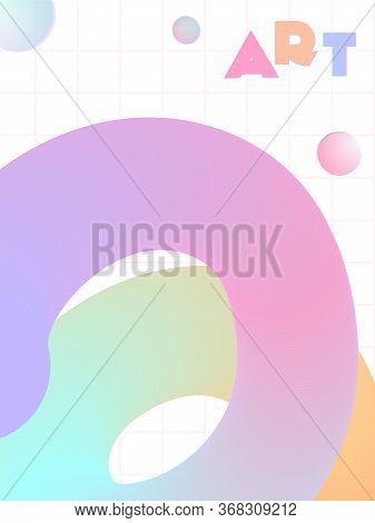 Music Cover In Blue, Violet, Pink, Green Colors. Radio Concert Flyer. Minimal Line Brochure. Amplitu