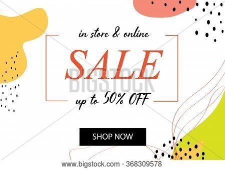 Shopping Sale Flyer Template With Lettering. Trendy Cute Background. Poster, Card, Label, Banner Des