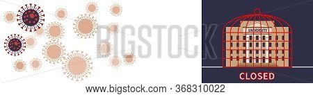 Banner With Coronavirus Cells And University. University Locked In Cage Due To Covid-19 Virus Quaran
