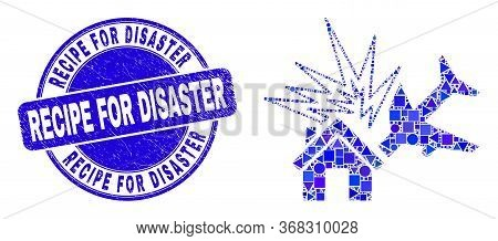 Geometric Airplane Disaster Mosaic Icon And Recipe For Disaster Watermark. Blue Vector Round Grunge