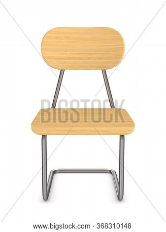 School chair on white background. Isolated 3D illustration