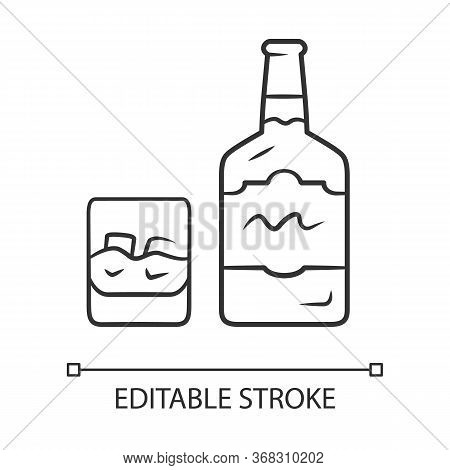 Whiskey Linear Icon. Bottle And Old Fashioned Glass With Drink. Scotch, Rum Shot. Alcoholic Beverage