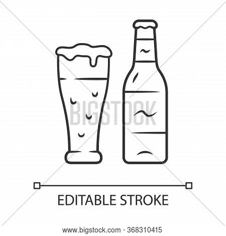 Beer Linear Icon. Uncorked Bottle And Glass Of Beverage. Bottled And Draft Lager. Alcoholic Drink. P