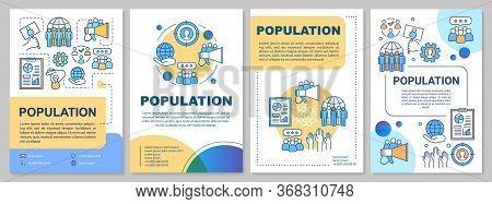 Population Brochure Template. Flyer, Booklet, Leaflet Print, Cover Design With Linear Illustrations.