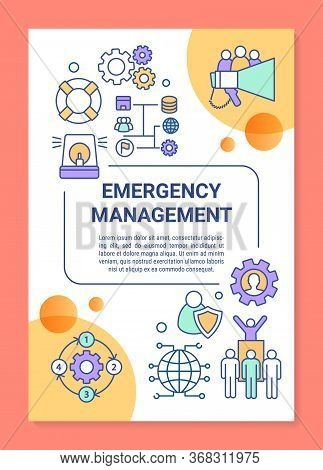Emergency Management Poster Template Layout. Rescue Service. Emergent Help. Banner, Booklet, Leaflet