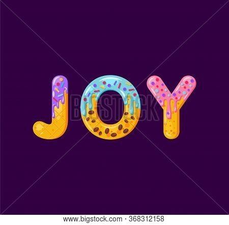 Joy Biscuit Vector Lettering. Glazed Gingerbread Inscription. Tempting Flat Design Typography. Cooki