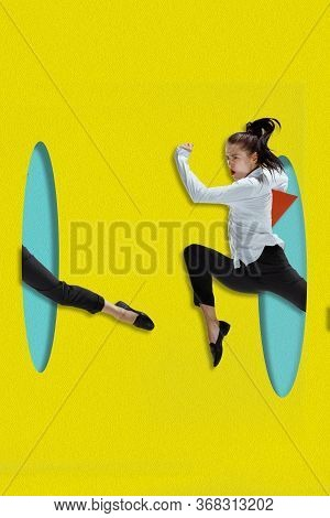 Office Woman Jumping High. A Person Running Throught Blue Papers Cutouts On Yellow Background. Dream