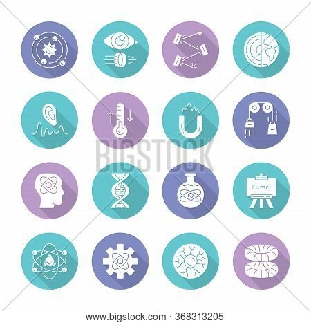 Physics Branches Flat Design Long Shadow Glyph Icons Set. Physical Processes And Phenomenons. Classi