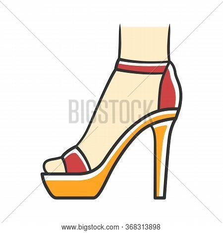 Ankle Strap High Heels Red Color Icon. Woman Stylish Footwear Design. Female Party Stiletto Shoes, L