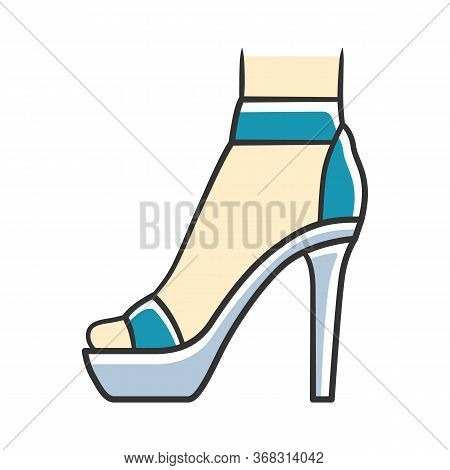 Ankle Strap High Heels Blue Color Icon. Woman Stylish Footwear Design. Female Party Stiletto Shoes,