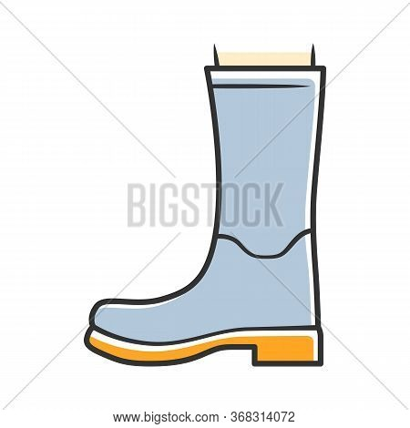 Women Wellies Blue Color Icon. Rubber Boots For Fall, Spring Rainy Season. Unisex Footwear Design. W