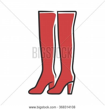 Thigh High Boots Red Color Icon. Woman Stylish Formal Footwear Design. Female Casual Stacked Heels,