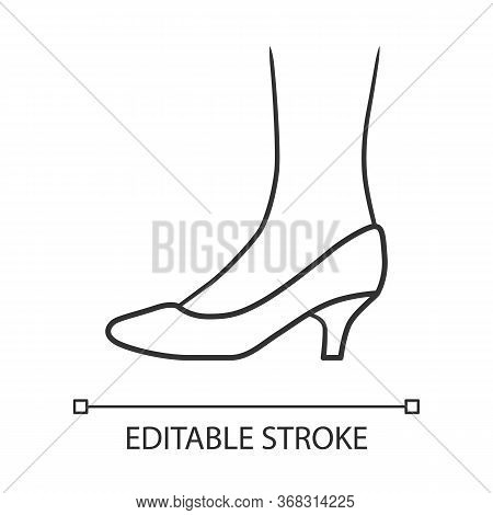 Kitten Heel Shoes Linear Icon. Woman Stylish Formal Footwear. Female Casual And Formal Retro Pumps.