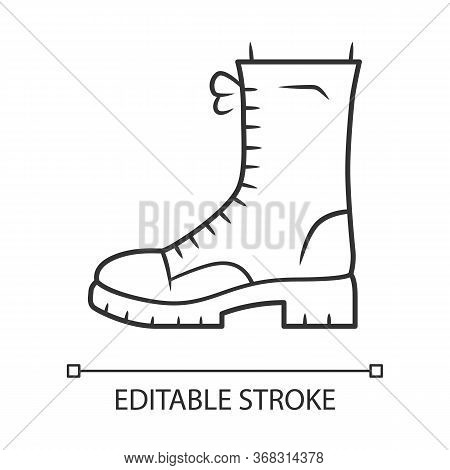 Military Boots Linear Icon. Women Army Rough Shoes. Female Chunky Footwear For Spring And Winter Sea