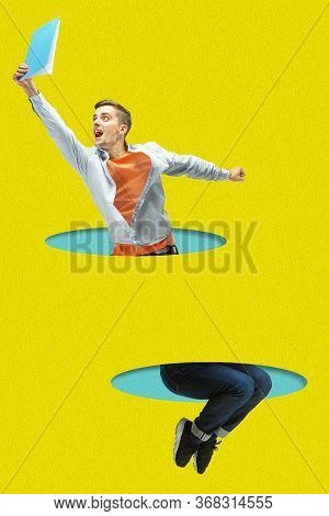 Office Man Jumping High. A Person Jumping Throught Blue Papers Cutouts On Yellow Background. Dream,