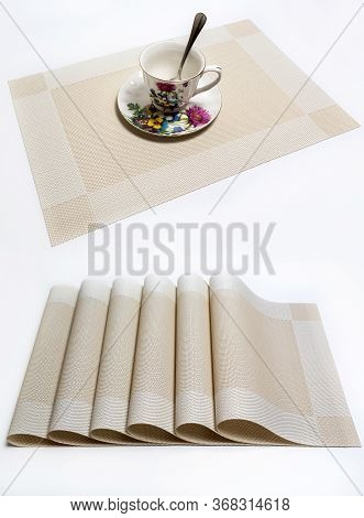 Placemat Combined For A Plate. White Background.