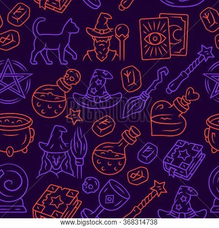 Halloween Items Vector Seamless Pattern. Mystery Background. Purple Texture, Linear Icons. Sorcery A